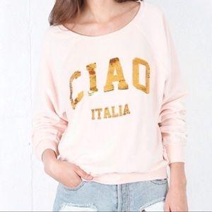 Wildfox | Ciao Italia Sequin Velour Sweatshirt